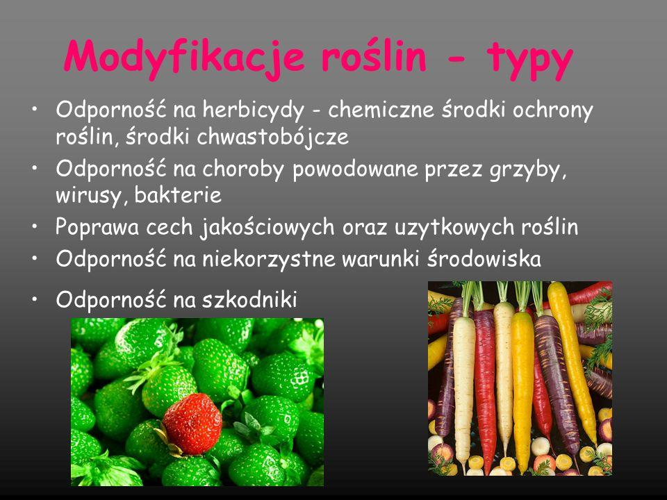 Modyfikacje roślin uprawnych Modyfikacje mają przede wszystkim na celu: zwiększenie odporności na herbicydy i szkodniki, zwiększenie odporności na infekcje wirusowe, bakteryjne i grzybowe, przedłużenie trwałości owoców, poprawę składu kwasów tłuszczowych oraz aminokwasów białek, zwiększenie zawartości suchej masy, zmianę zawartości węglowodanów, karotenoidów i witamin, usunięcie składników anty żywieniowych – toksyn, związków utrudniających przyswajanie składników, związków które podczas obróbki kulinarnej ulegają reakcjom chemicznym wytwarzając toksyny