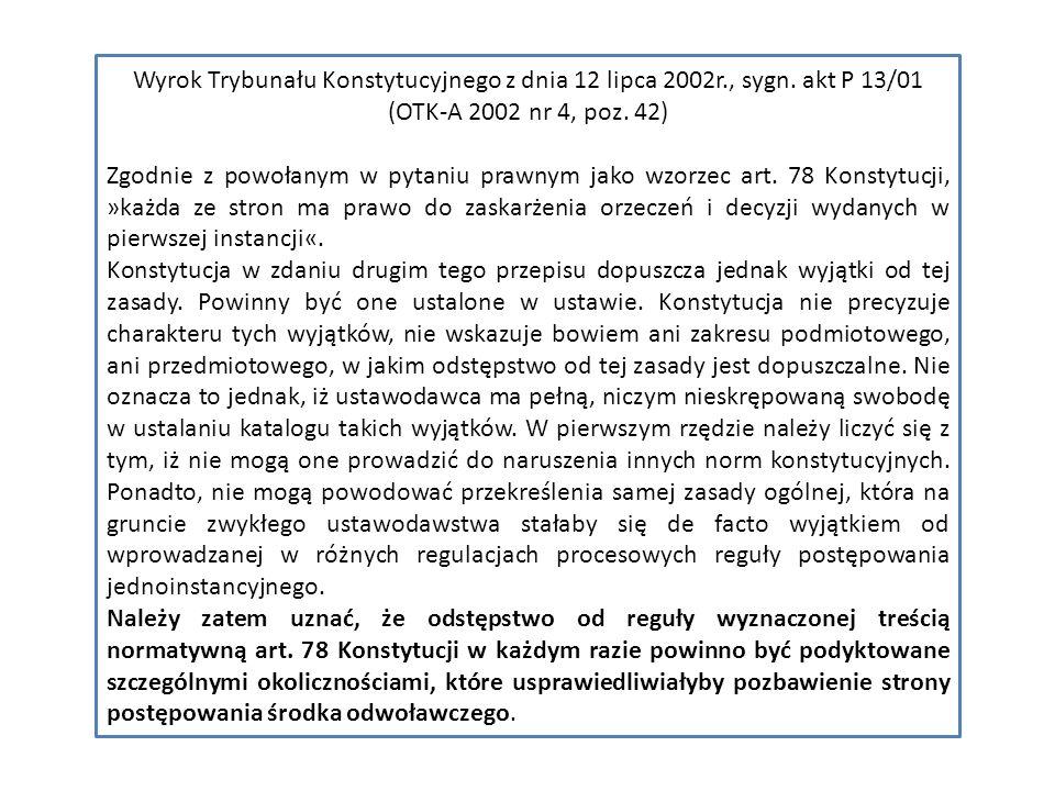 Wyrok Trybunału Konstytucyjnego z dnia 12 lipca 2002r., sygn.