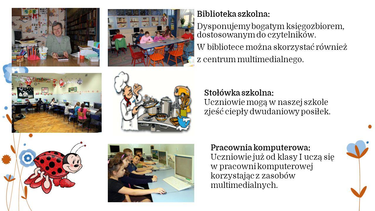 Biblioteka szkolna: Dysponujemy bogatym księgozbiorem, dostosowanym do czytelników.