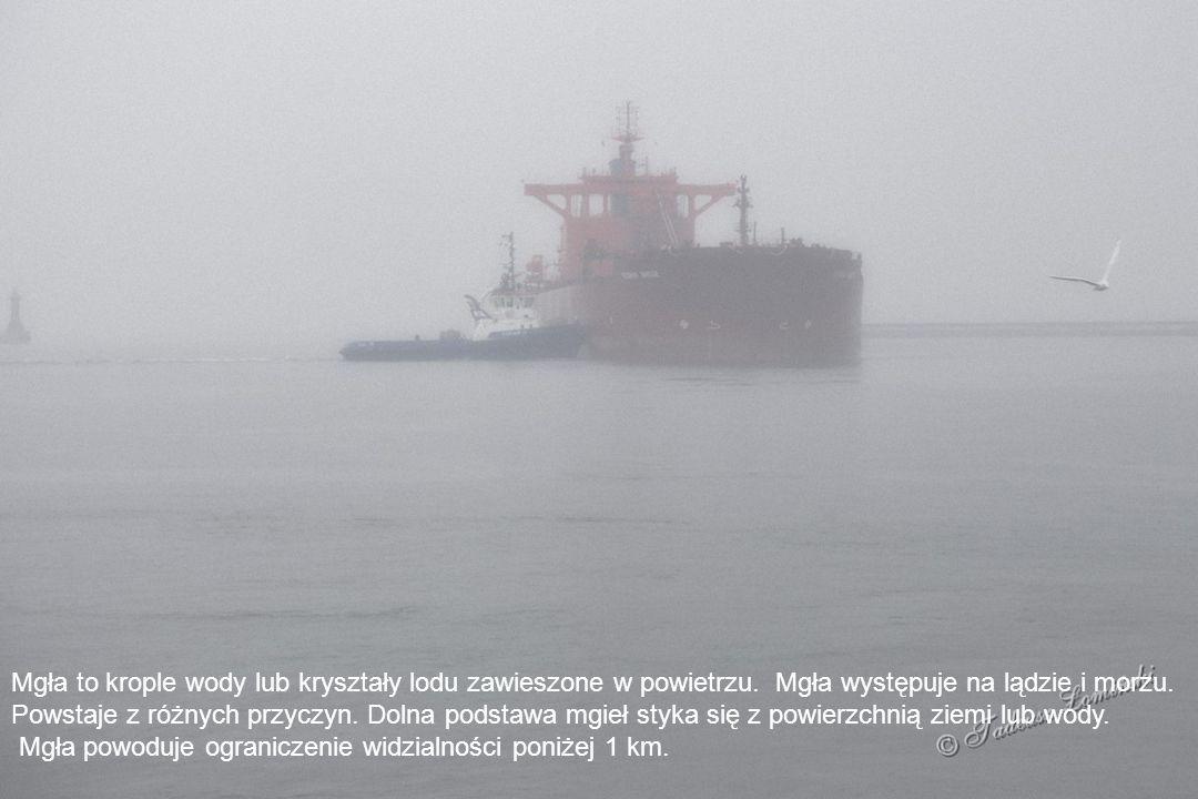 Mgła to krople wody lub kryształy lodu zawieszone w powietrzu.