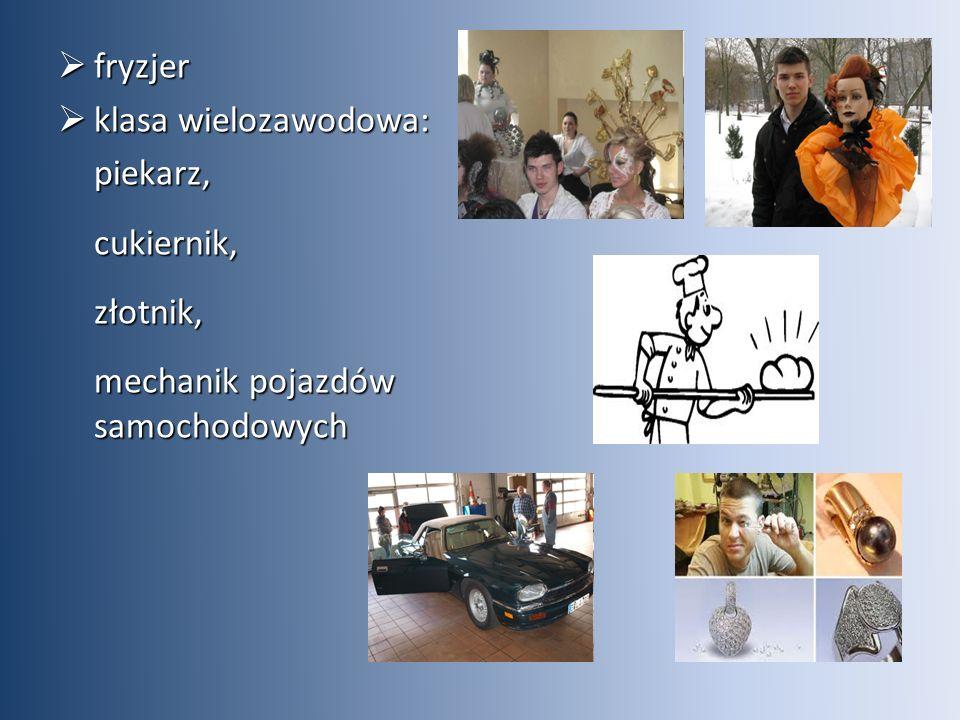  fryzjer  klasa wielozawodowa: piekarz,cukiernik,złotnik, mechanik pojazdów samochodowych