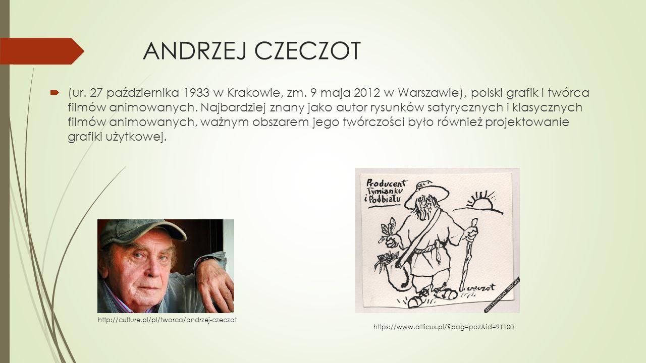 ANDRZEJ CZECZOT  (ur. 27 października 1933 w Krakowie, zm. 9 maja 2012 w Warszawie), polski grafik i twórca filmów animowanych. Najbardziej znany jak
