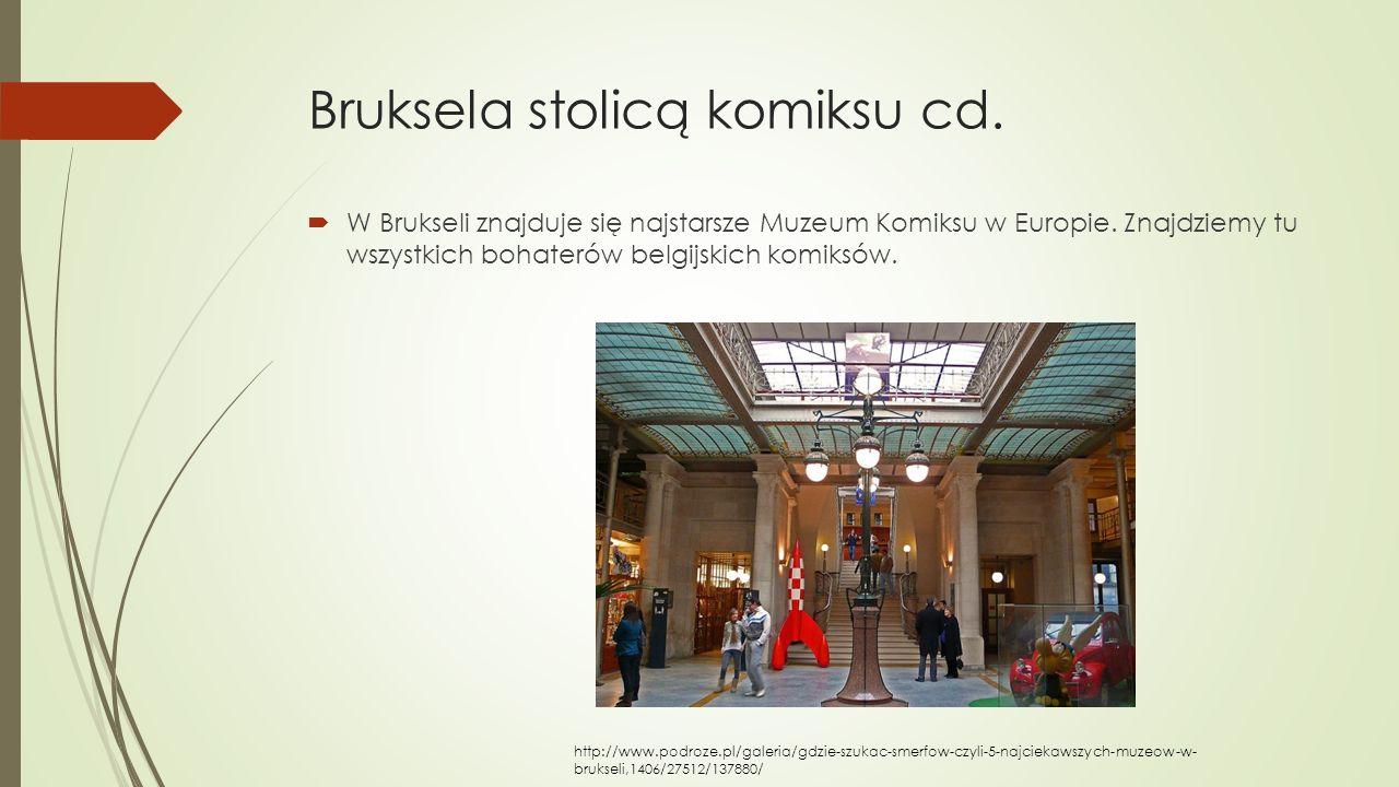 Bruksela stolicą komiksu cd.  W Brukseli znajduje się najstarsze Muzeum Komiksu w Europie. Znajdziemy tu wszystkich bohaterów belgijskich komiksów. h