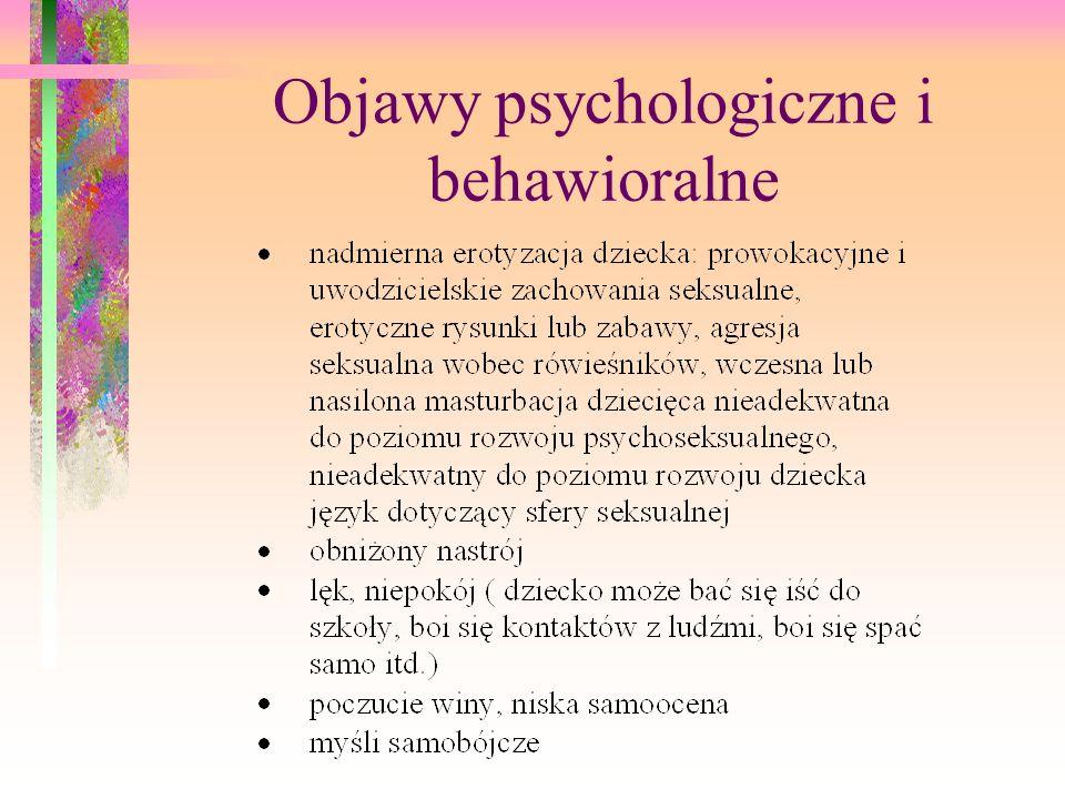 koszmary lęki nocne nadpobudliwość psychoruchowa trudności w koncentracji uwagi wtórne moczenie nocne zachowania regresywne ( np.