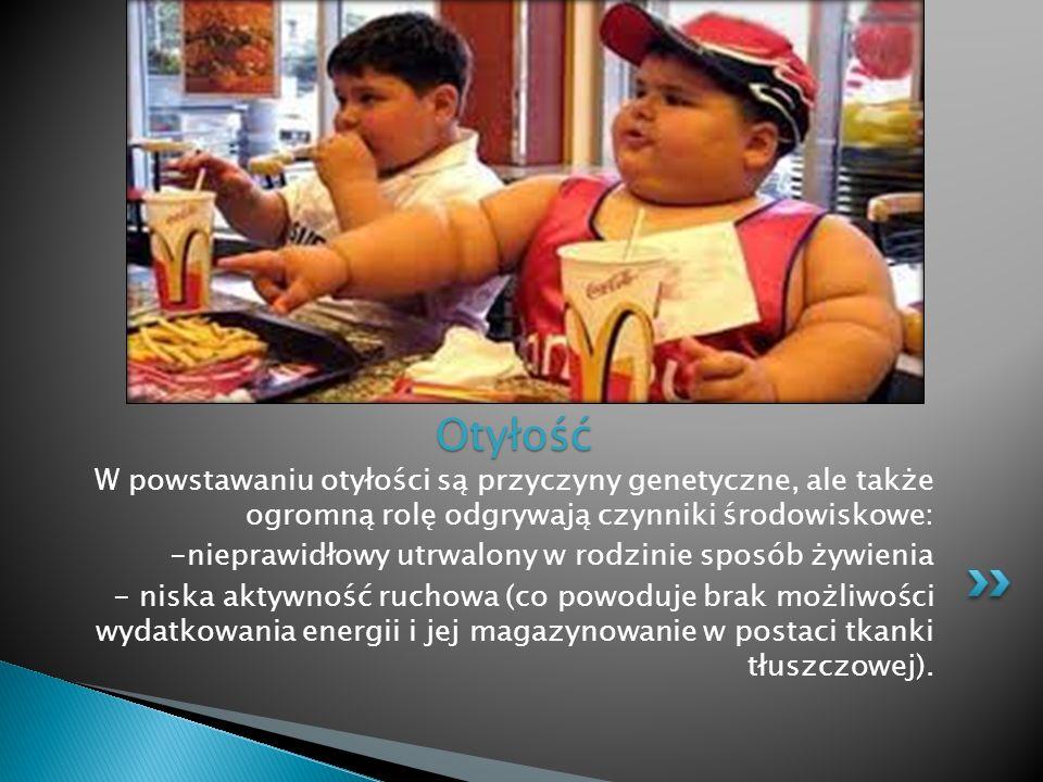 W powstawaniu otyłości są przyczyny genetyczne, ale także ogromną rolę odgrywają czynniki środowiskowe: -nieprawidłowy utrwalony w rodzinie sposób żyw