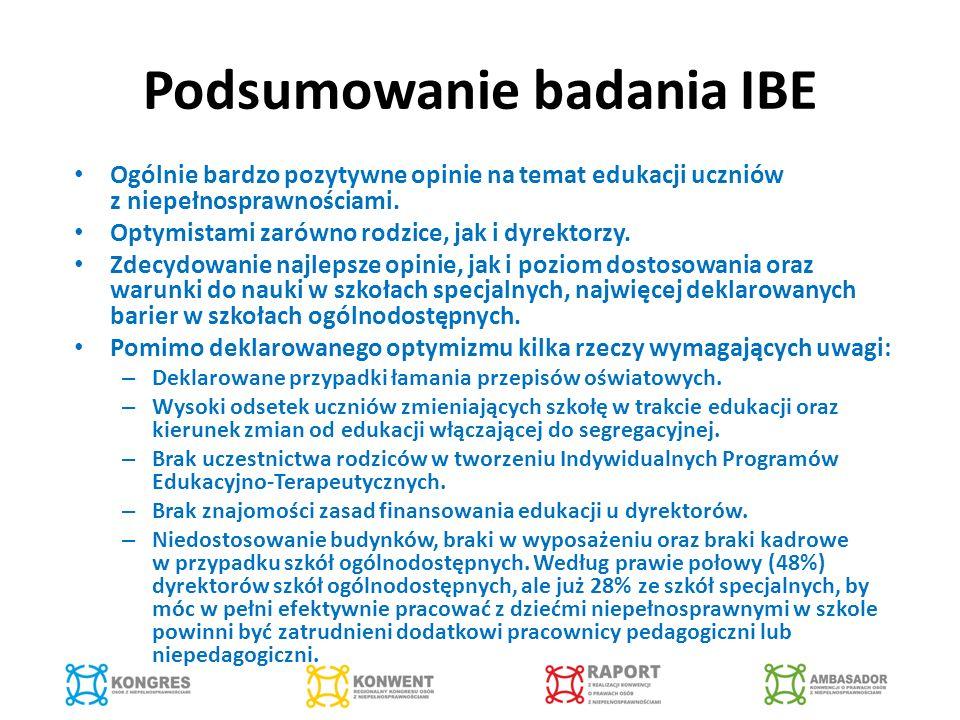 Podsumowanie badania IBE Ogólnie bardzo pozytywne opinie na temat edukacji uczniów z niepełnosprawnościami.