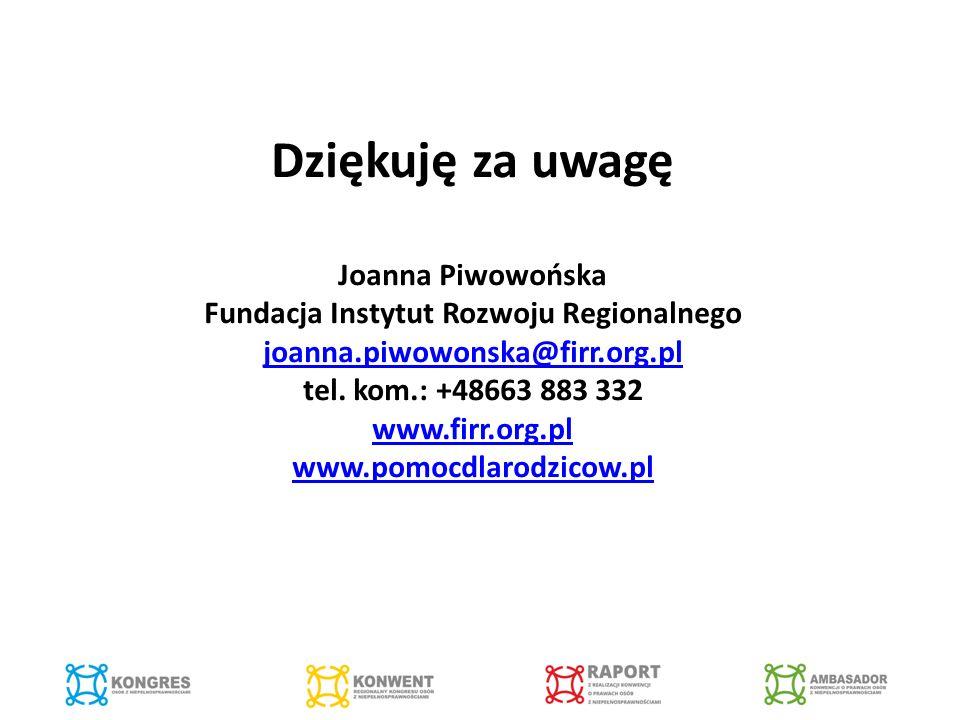 Dziękuję za uwagę Joanna Piwowońska Fundacja Instytut Rozwoju Regionalnego joanna.piwowonska@firr.org.pl tel.