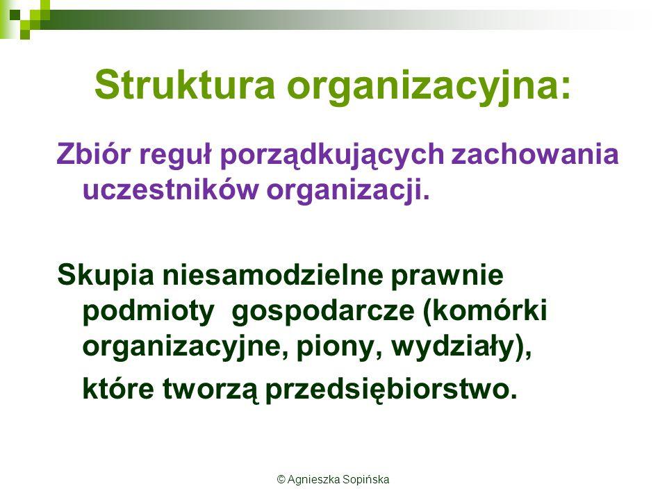 Parametry (cechy) struktury organizacyjnej: ParametrOpis parametruRodzaje SpecjalizacjaOkreśla podział pracy i rodzaj więzi wewnątrz podmiotu.