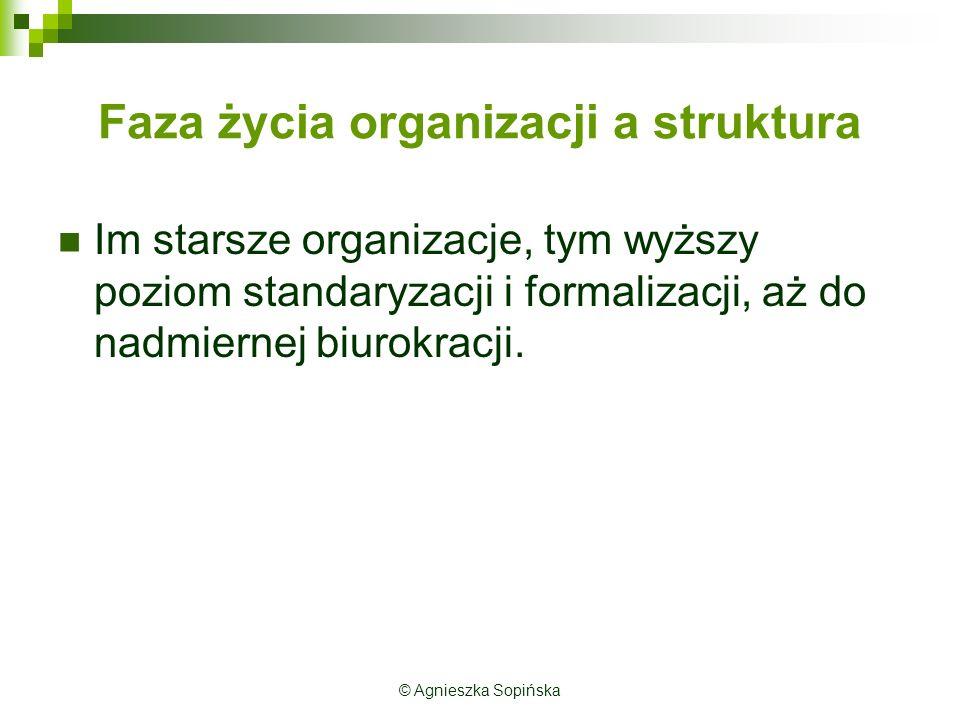 Faza życia organizacji a struktura Im starsze organizacje, tym wyższy poziom standaryzacji i formalizacji, aż do nadmiernej biurokracji. © Agnieszka S