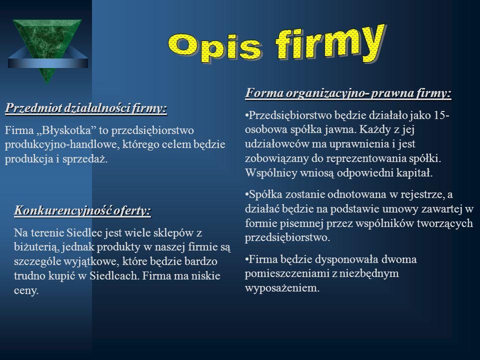"""Przedmiot działalności firmy: Firma """"Błyskotka"""" to przedsiębiorstwo produkcyjno-handlowe, którego celem będzie produkcja i sprzedaż. Forma organizacyj"""