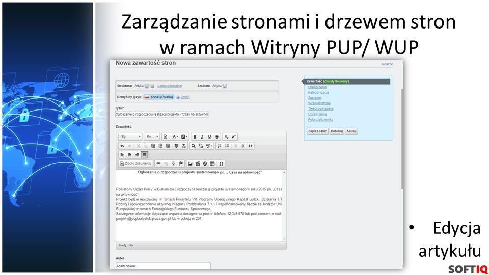 Zarządzanie stronami i drzewem stron w ramach Witryny PUP/ WUP Edycja artykułu