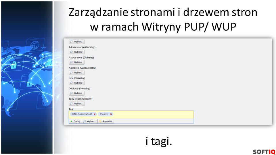 Zarządzanie stronami i drzewem stron w ramach Witryny PUP/ WUP i tagi.