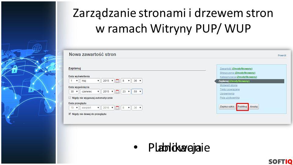 Zarządzanie stronami i drzewem stron w ramach Witryny PUP/ WUP Planowanie Publikacja