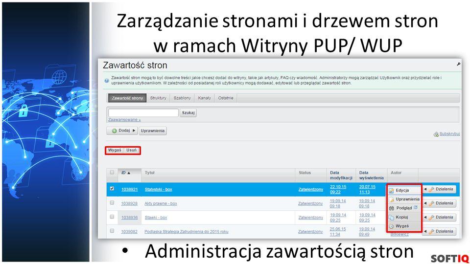 Zarządzanie stronami i drzewem stron w ramach Witryny PUP/ WUP Administracja zawartością stron