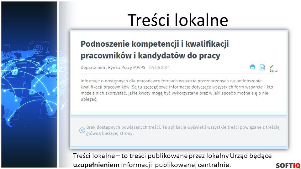 Treści lokalne Treści lokalne – to treści publikowane przez lokalny Urząd będące uzupełnieniem informacji publikowanej centralnie.
