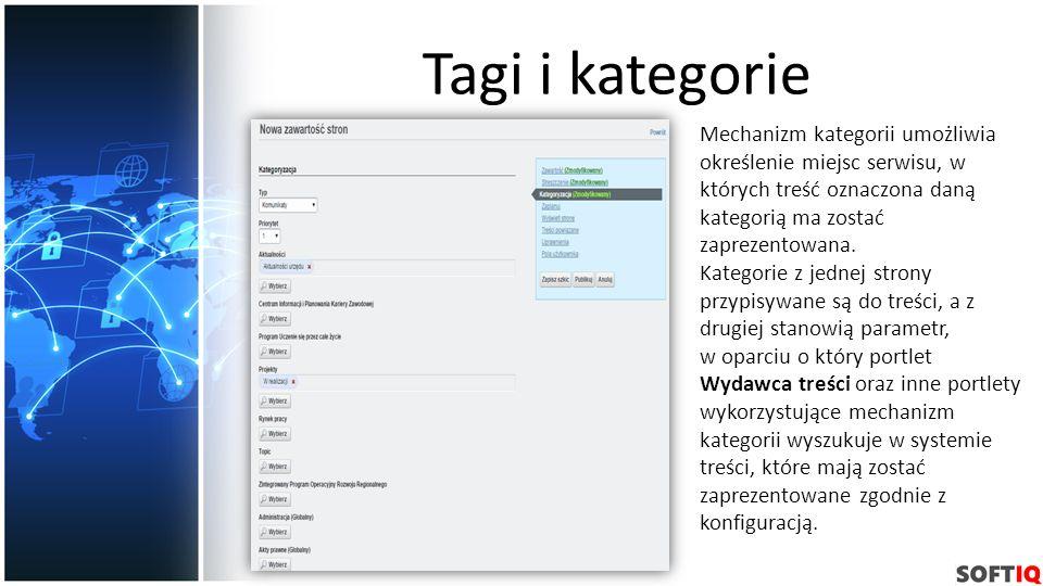 Tagi i kategorie Mechanizm kategorii umożliwia określenie miejsc serwisu, w których treść oznaczona daną kategorią ma zostać zaprezentowana. Kategorie