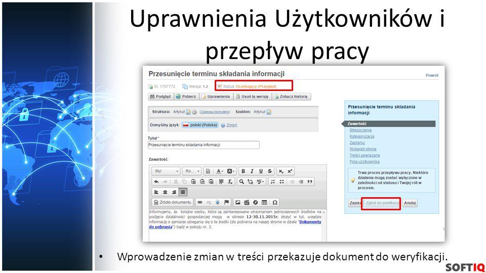Uprawnienia Użytkowników i przepływ pracy Wprowadzenie zmian w treści przekazuje dokument do weryfikacji.