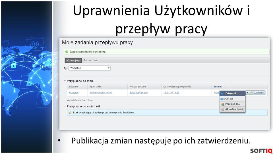 Uprawnienia Użytkowników i przepływ pracy Publikacja zmian następuje po ich zatwierdzeniu.