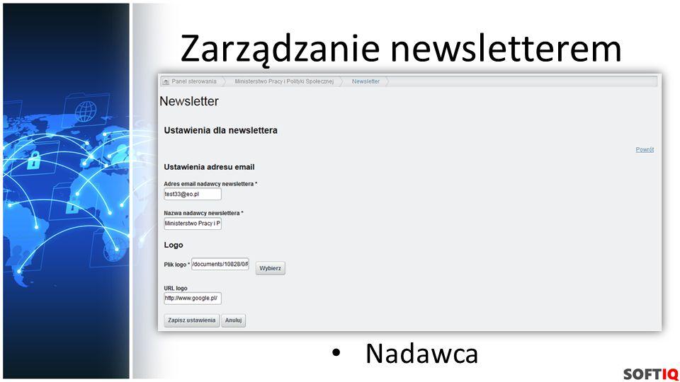 Zarządzanie newsletterem Nadawca