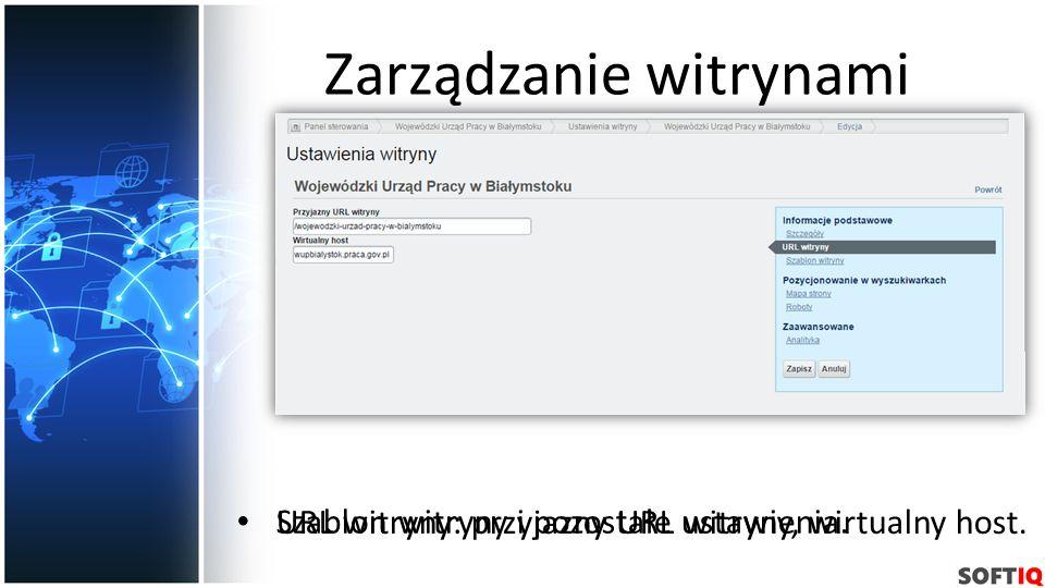 Zarządzanie witrynami URL witryny: przyjazny URL witryny, wirtualny host. Szablon witryny i pozostałe ustawienia.