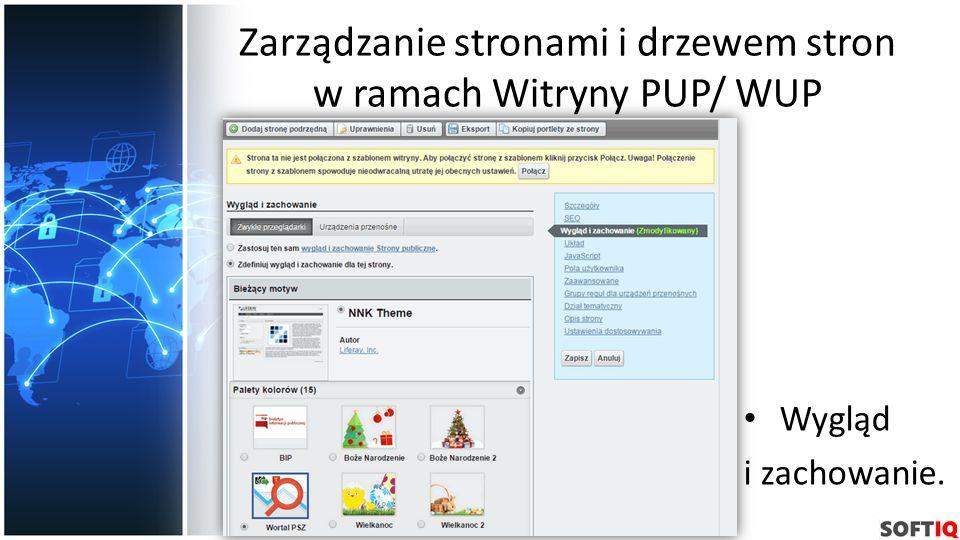 Zarządzanie stronami i drzewem stron w ramach Witryny PUP/ WUP Wygląd i zachowanie.