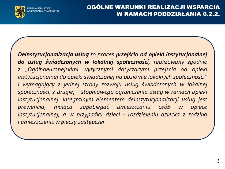 13 OGÓLNE WARUNKI REALIZACJI WSPARCIA W RAMACH PODDZIAŁANIA 6.2.2. Deinstytucjonalizacja usług to proces przejścia od opieki instytucjonalnej do usług