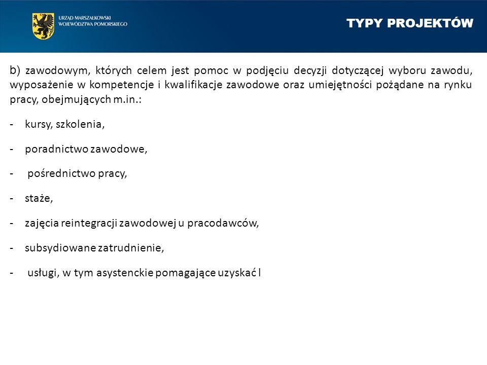 TYPY PROJEKTÓW b) zawodowym, których celem jest pomoc w podjęciu decyzji dotyczącej wyboru zawodu, wyposażenie w kompetencje i kwalifikacje zawodowe o