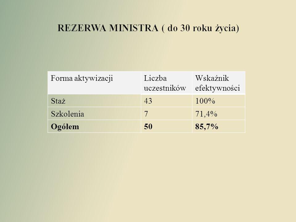 Forma aktywizacjiLiczba uczestników Wskaźnik efektywności Staż43100% Szkolenia771,4% Ogółem5085,7%
