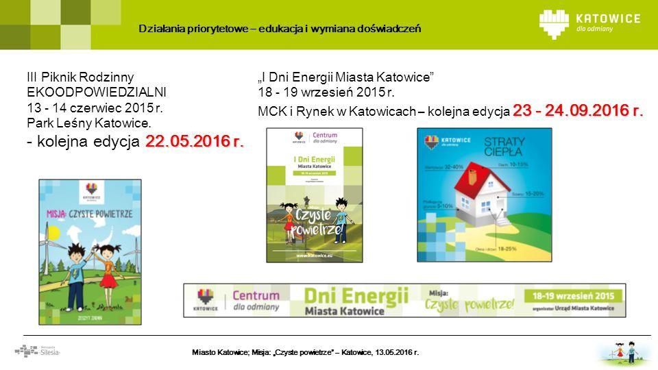 """Działania priorytetowe – edukacja i wymiana doświadczeń Miasto Katowice; Misja: """"Czyste powietrze – Katowice, 13.05.2016 r."""