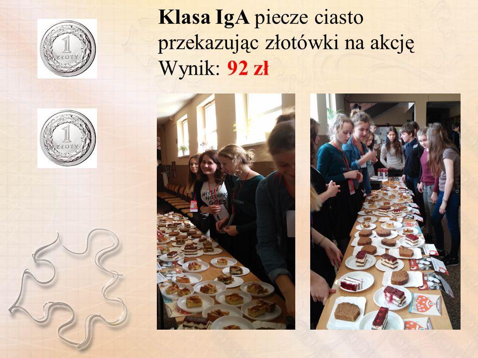 Klasa IgA piecze ciasto przekazując złotówki na akcję Wynik: 92 zł