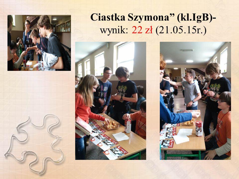 Ciastka Szymona (kl.IgB)- wynik: 22 zł (21.05.15r.)
