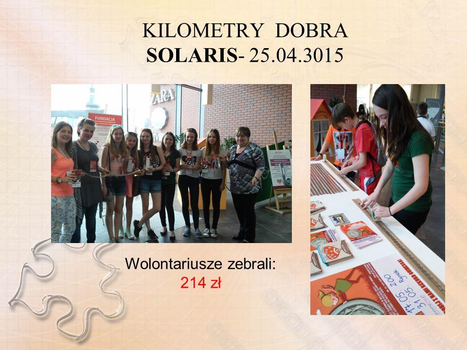 KILOMETRY DOBRA SOLARIS- 25.04.3015 Wolontariusze zebrali: 214 zł