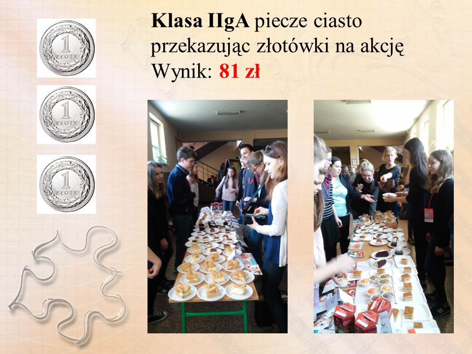 Klasa IIgA piecze ciasto przekazując złotówki na akcję Wynik: 81 zł