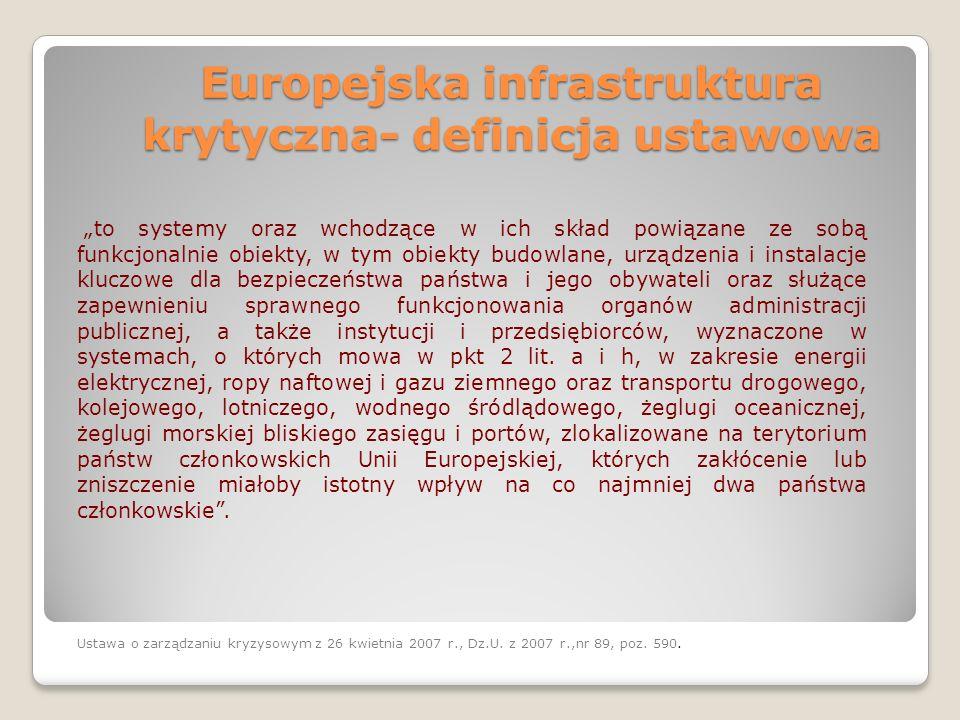 """Europejska infrastruktura krytyczna- definicja ustawowa """"to systemy oraz wchodzące w ich skład powiązane ze sobą funkcjonalnie obiekty, w tym obiekty"""