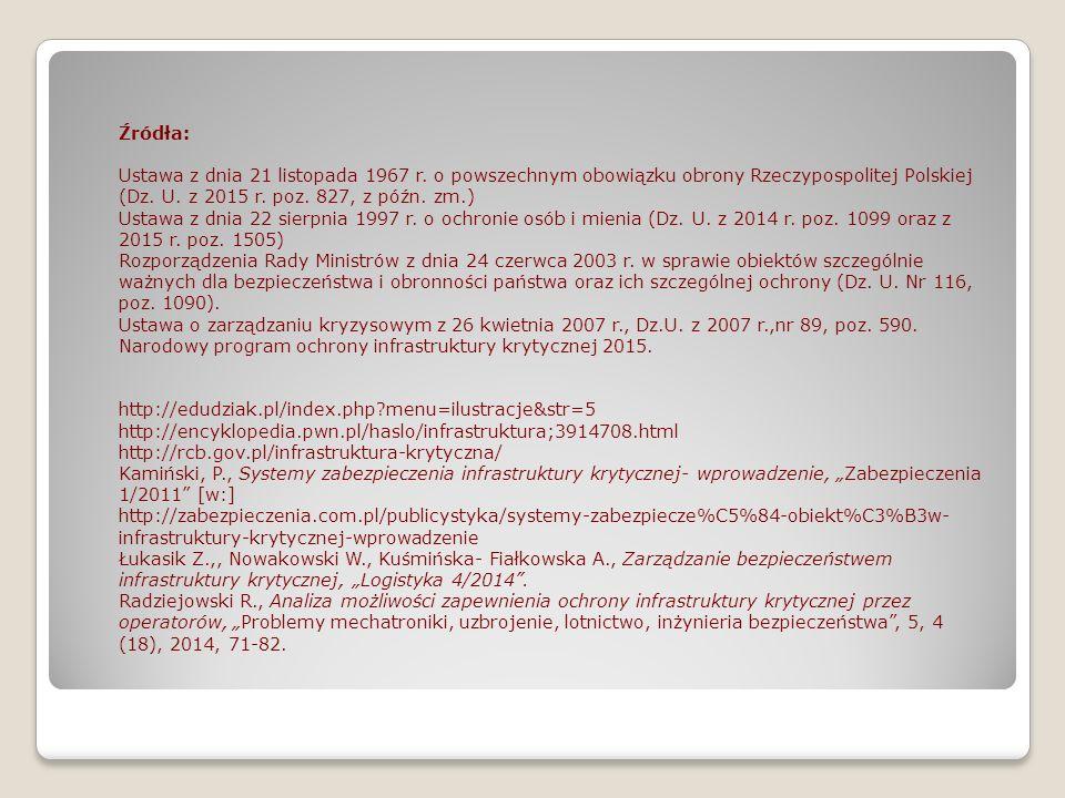 Źródła: Ustawa z dnia 21 listopada 1967 r. o powszechnym obowiązku obrony Rzeczypospolitej Polskiej (Dz. U. z 2015 r. poz. 827, z późn. zm.) Ustawa z