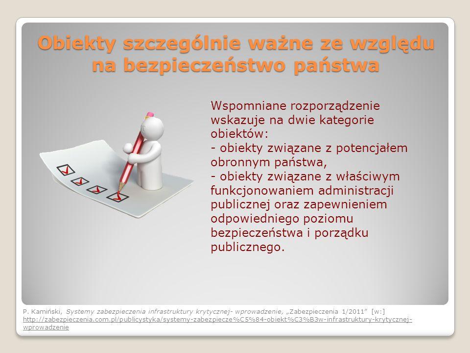 Obiekty szczególnie ważne ze względu na bezpieczeństwo państwa Wspomniane rozporządzenie wskazuje na dwie kategorie obiektów: - obiekty związane z pot