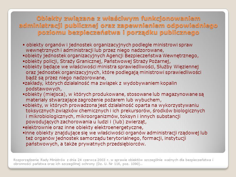 Obiekty związane z właściwym funkcjonowaniem administracji publicznej oraz zapewnieniem odpowiedniego poziomu bezpieczeństwa i porządku publicznego Ro
