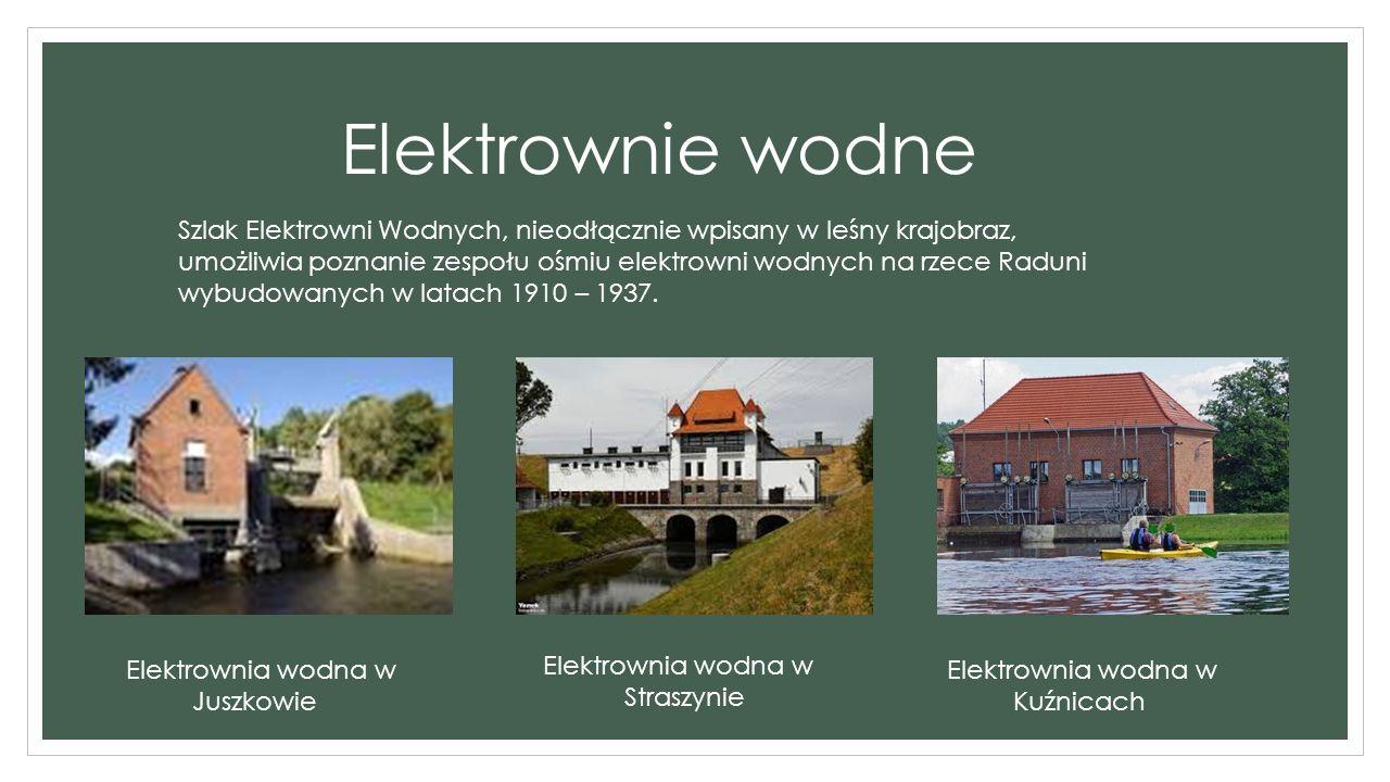 Elektrownie wodne Elektrownia wodna w Juszkowie Elektrownia wodna w Straszynie Elektrownia wodna w Kuźnicach Szlak Elektrowni Wodnych, nieodłącznie wpisany w leśny krajobraz, umożliwia poznanie zespołu ośmiu elektrowni wodnych na rzece Raduni wybudowanych w latach 1910 – 1937.