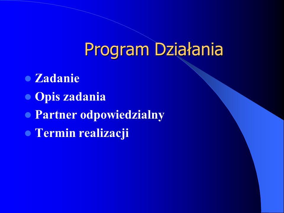 Program Działania Zadanie Opis zadania Partner odpowiedzialny Termin realizacji