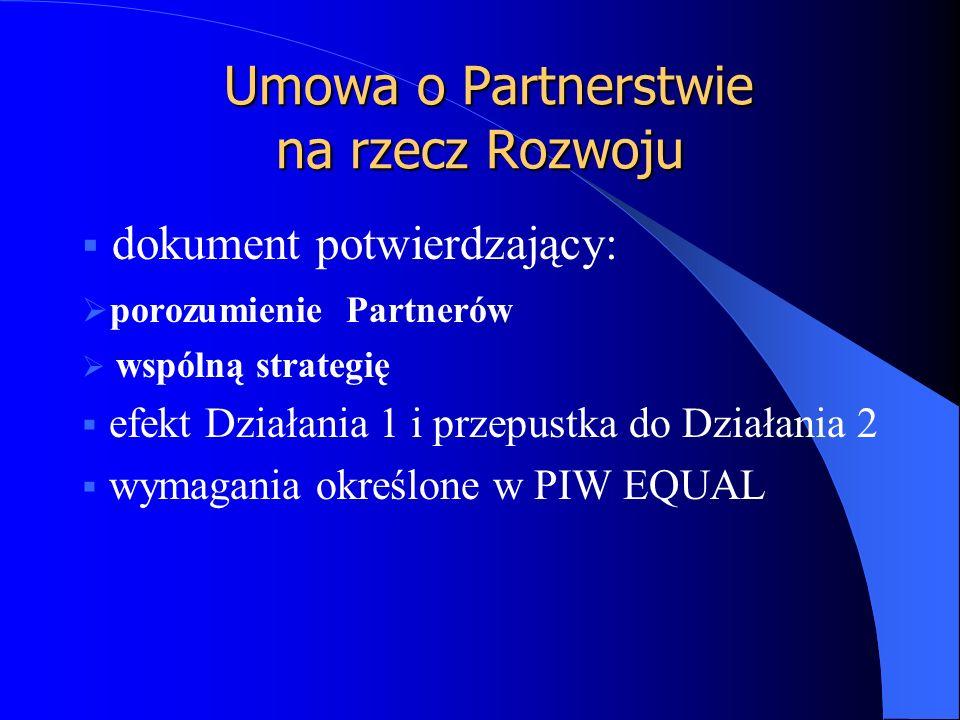  dokument potwierdzający:  porozumienie Partnerów  wspólną strategię  efekt Działania 1 i przepustka do Działania 2  wymagania określone w PIW EQUAL Umowa o Partnerstwie na rzecz Rozwoju Umowa o Partnerstwie na rzecz Rozwoju