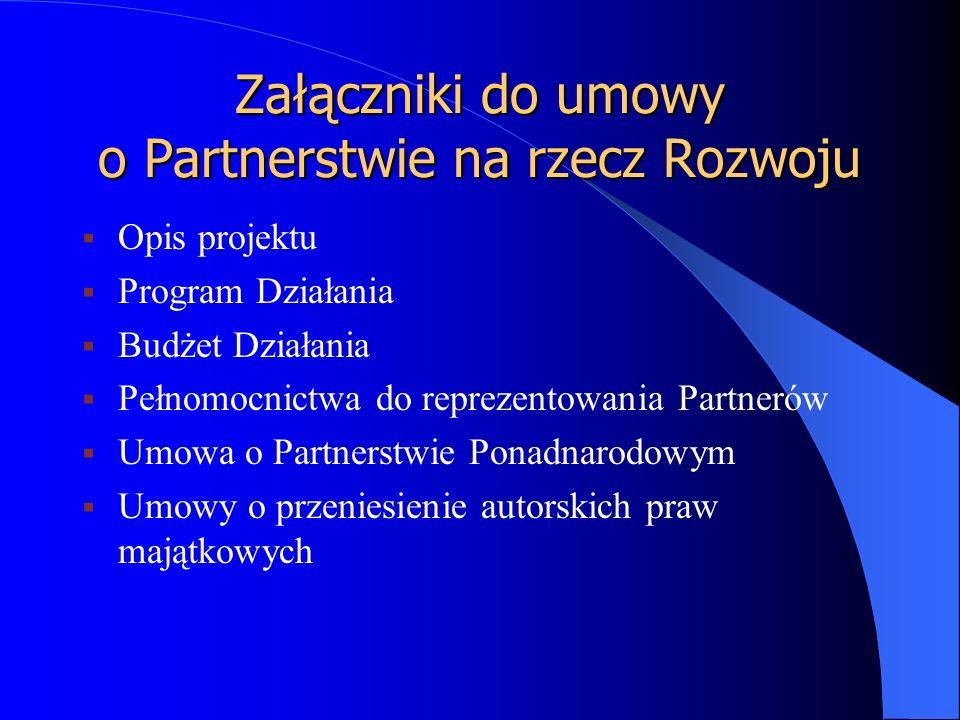Załączniki do umowy o Partnerstwie na rzecz Rozwoju  Opis projektu  Program Działania  Budżet Działania  Pełnomocnictwa do reprezentowania Partnerów  Umowa o Partnerstwie Ponadnarodowym  Umowy o przeniesienie autorskich praw majątkowych