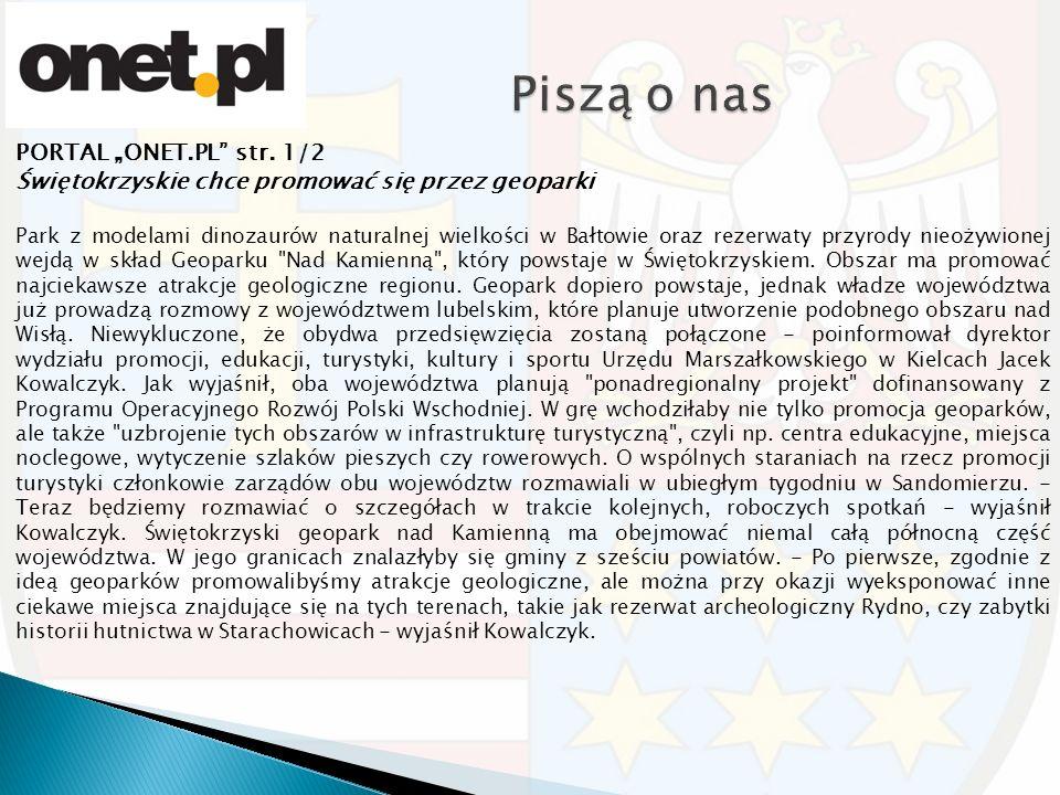 """PORTAL """"ONET.PL"""" str. 1/2 Świętokrzyskie chce promować się przez geoparki Park z modelami dinozaurów naturalnej wielkości w Bałtowie oraz rezerwaty pr"""