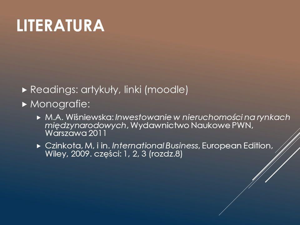 LITERATURA  Readings: artykuły, linki (moodle)  Monografie:  M.A. Wiśniewska: Inwestowanie w nieruchomości na rynkach międzynarodowych, Wydawnictwo