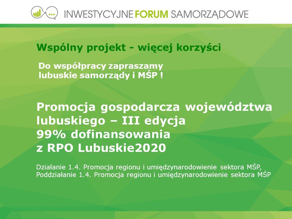 Promocja gospodarcza województwa lubuskiego – III edycja 99% dofinansowania z RPO Lubuskie2020 Działanie 1.4.