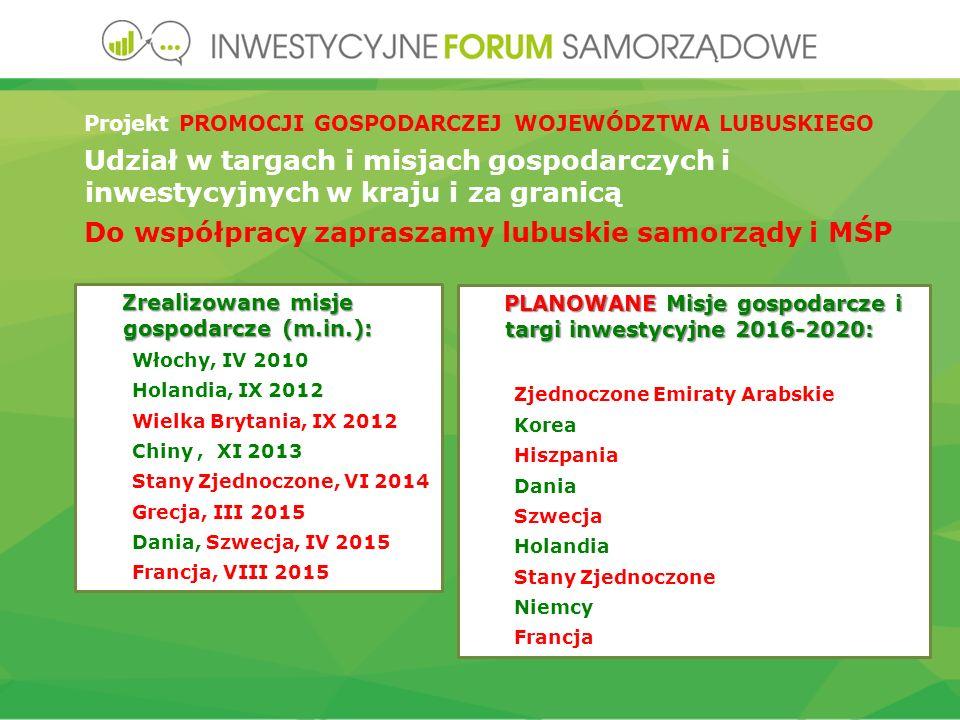 Zrealizowane misje gospodarcze (m.in.): Włochy, IV 2010 Holandia, IX 2012 Wielka Brytania, IX 2012 Chiny, XI 2013 Stany Zjednoczone, VI 2014 Grecja, III 2015 Dania, Szwecja, IV 2015 Francja, VIII 2015 PLANOWANE Misje gospodarcze i targi inwestycyjne 2016-2020: Zjednoczone Emiraty Arabskie Korea Hiszpania Dania Szwecja Holandia Stany Zjednoczone Niemcy Francja Projekt PROMOCJI GOSPODARCZEJ WOJEWÓDZTWA LUBUSKIEGO Udział w targach i misjach gospodarczych i inwestycyjnych w kraju i za granicą Do współpracy zapraszamy lubuskie samorządy i MŚP