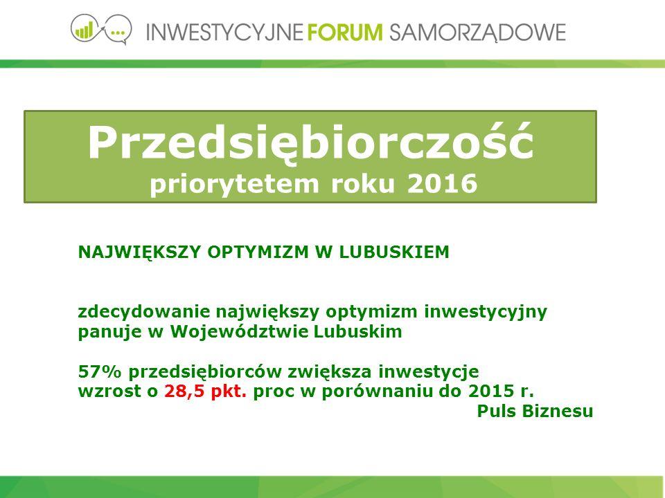 NAJWIĘKSZY OPTYMIZM W LUBUSKIEM zdecydowanie największy optymizm inwestycyjny panuje w Województwie Lubuskim 57% przedsiębiorców zwiększa inwestycje wzrost o 28,5 pkt.