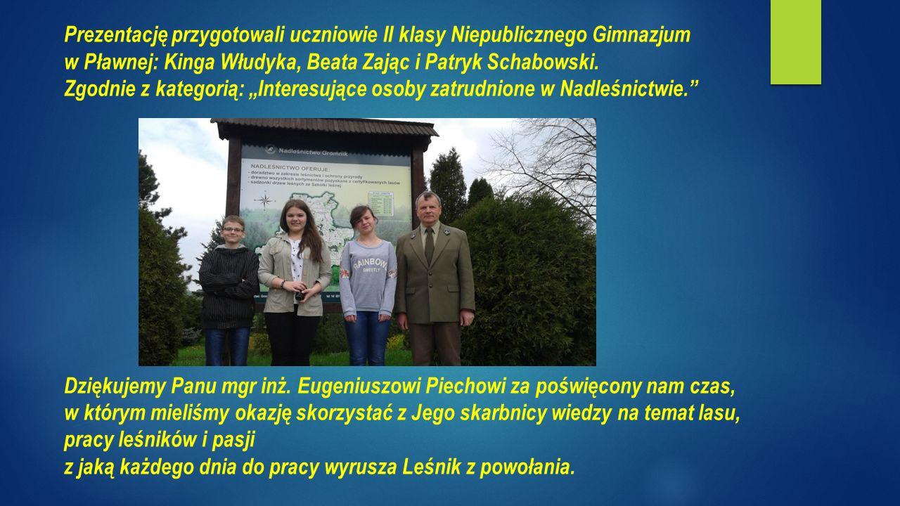 Prezentację przygotowali uczniowie II klasy Niepublicznego Gimnazjum w Pławnej: Kinga Włudyka, Beata Zając i Patryk Schabowski.