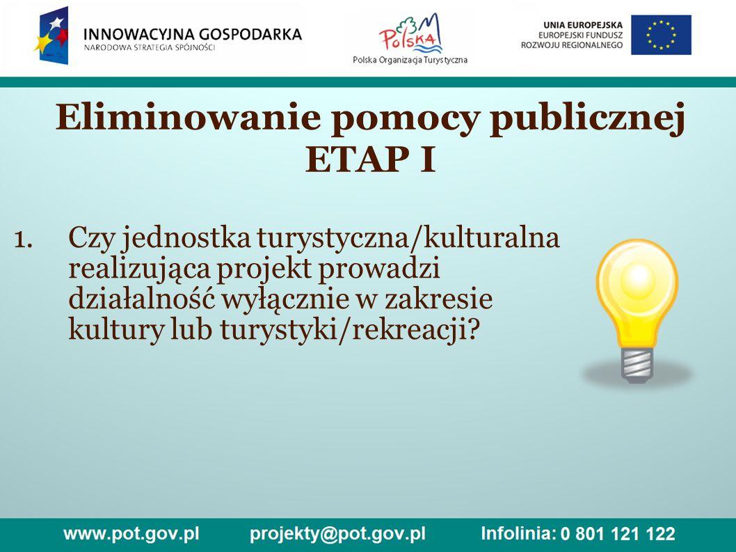 Eliminowanie pomocy publicznej ETAP I 1.Czy jednostka turystyczna/kulturalna realizująca projekt prowadzi działalność wyłącznie w zakresie kultury lub turystyki/rekreacji