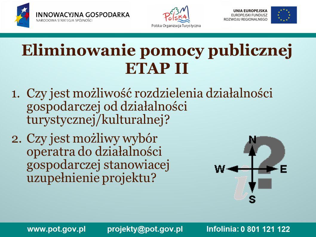 Eliminowanie pomocy publicznej ETAP II 1.Czy jest możliwość rozdzielenia działalności gospodarczej od działalności turystycznej/kulturalnej.