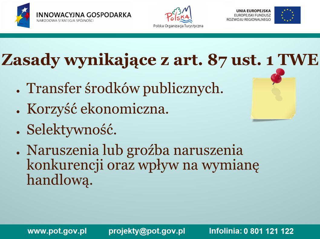 Zasady wynikające z art. 87 ust. 1 TWE ● Transfer środków publicznych.